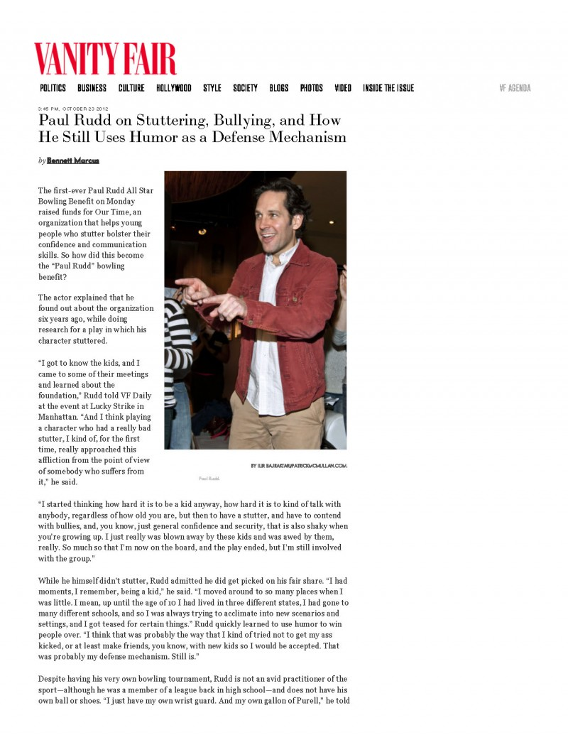 Paul Rudd on Stuttering, Bullying, and How He Still Uses Humor as a Defense Mechanism