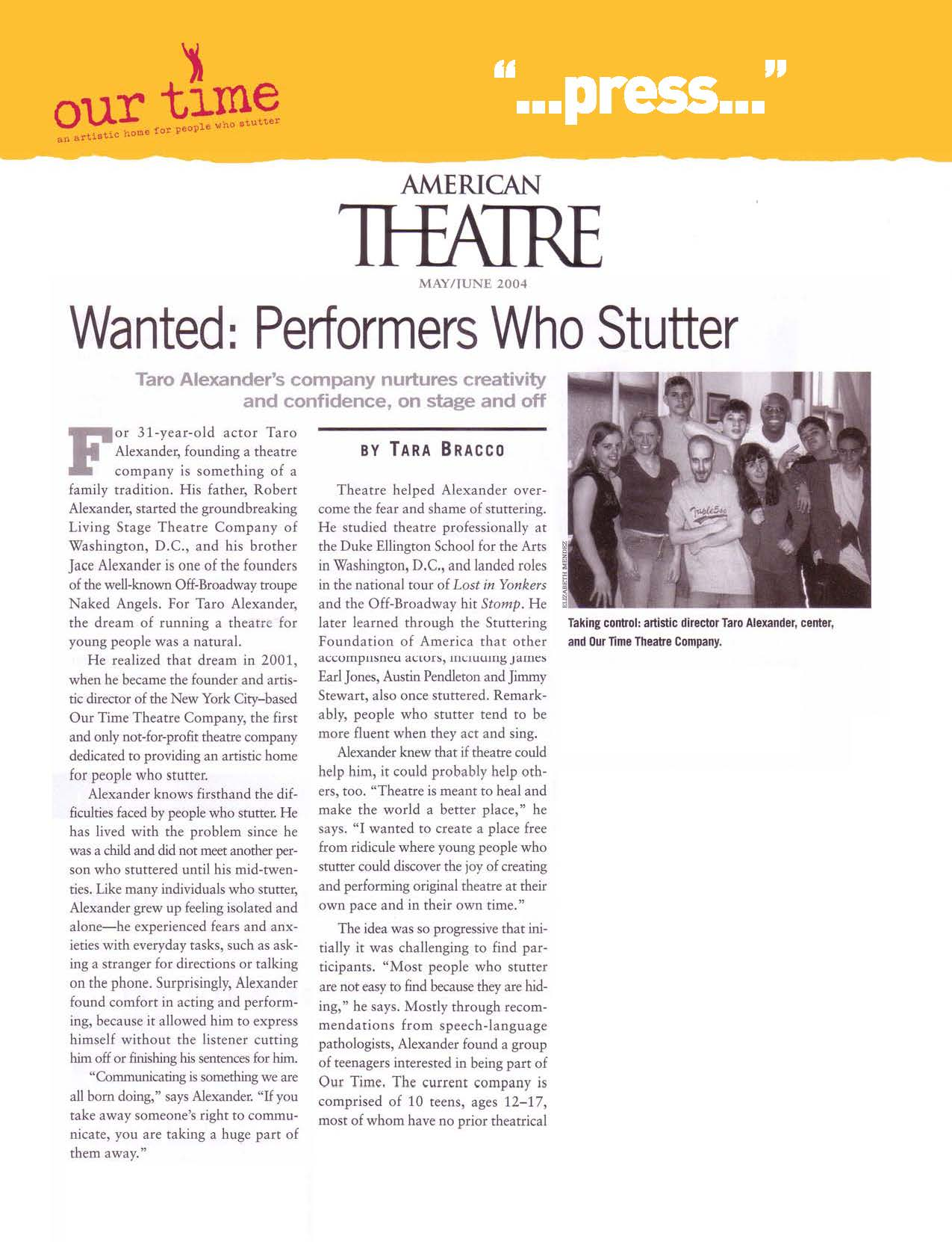 Wanted: Performers Who Stutter