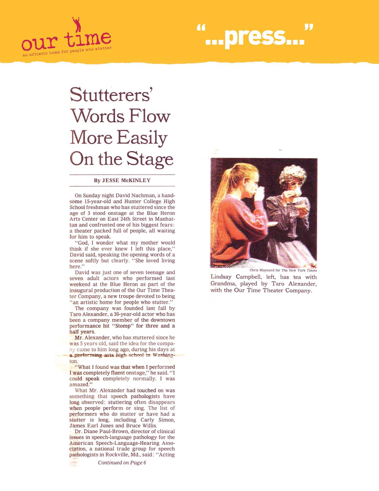 Stutterers' Words Flow More Easily On the Stage