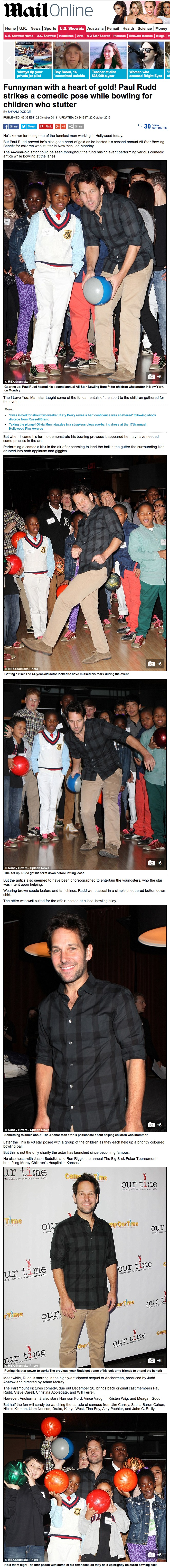 Funnyman with a Heart of Gold! Paul Rudd Strikes a Comedic Pose While Bowling for Children Who Stutter