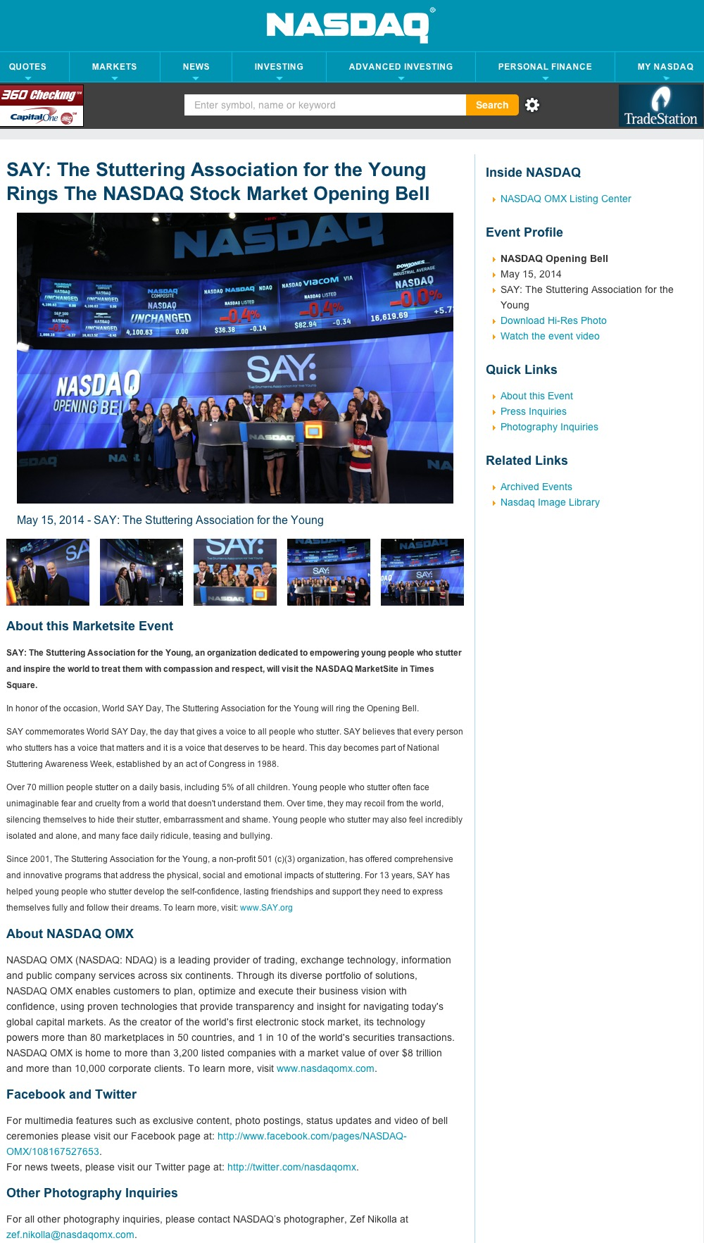 The Stuttering Association for the Young Rings the NASDAQ Stock Market Opening Bell