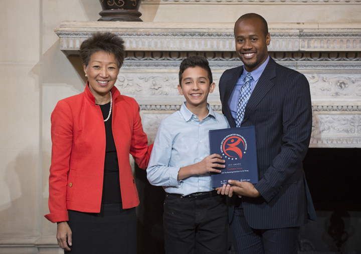 Pictured: NEA Chairman Jane Chu, SAY Participant Reuben, and SAY Director of Programming Travis Robertson.