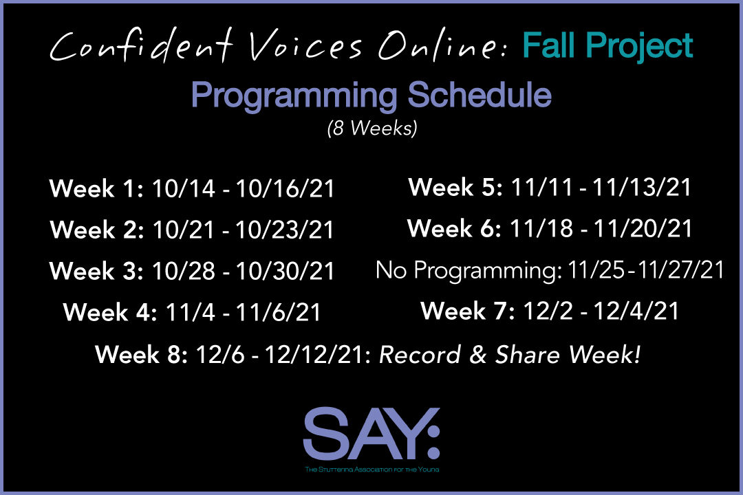 SAY Confident Voices Online: Fall Project
